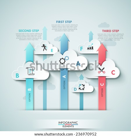 Modern infographics cloud template for 5 options with icons. Vector. Can be used for workflow layout, banner, diagram, web design, infographic template. - stock vector