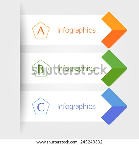 modern infographics colorful arrow banners template with pentagons. vector illustration - stock vector