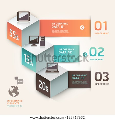 Modern infographics communication technology. Vector illustration. can be used for workflow layout, diagram, number options, step up options, web design, banner. - stock vector