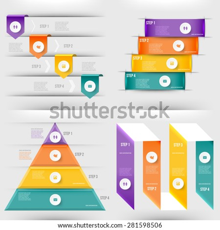 Modern infographics element number template. Pyramid steps. Vector illustration. can be used for workflow layout, diagram, business step options, banner, web design - stock vector