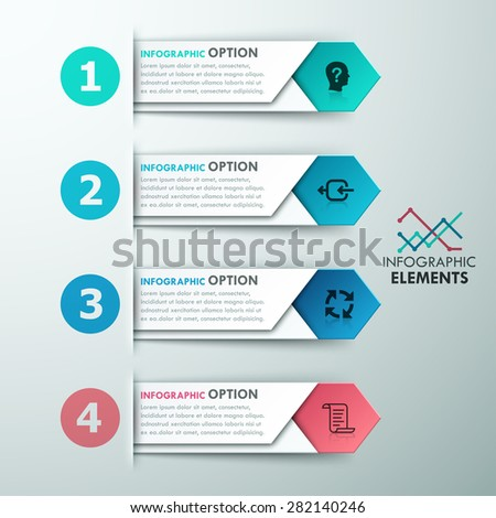 Modern infographics options banner with 4 colorful paper arrows. Vector. Can be used for web design and  workflow layout