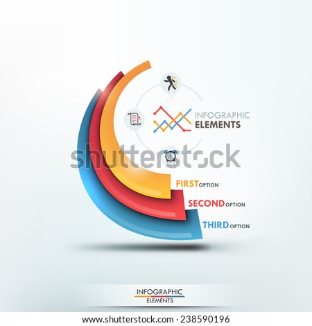 Modern infographics options template with 3 colorful paper shapes on bright background. Vector. Can be used for web design and  workflow layout - stock vector