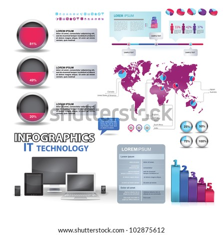 Modern infographics set and icons IT technology. World Map and Information Graphics - stock vector