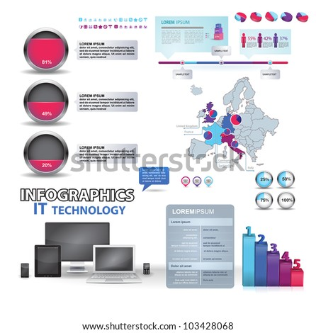 Modern infographics set and icons IT tehnology. Map of Europe and Information Graphics