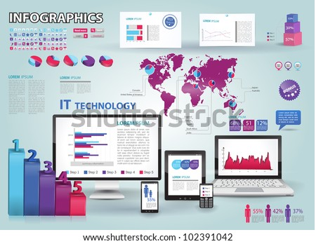 Modern infographics set and icons IT tehnology. World Map and Information Graphics