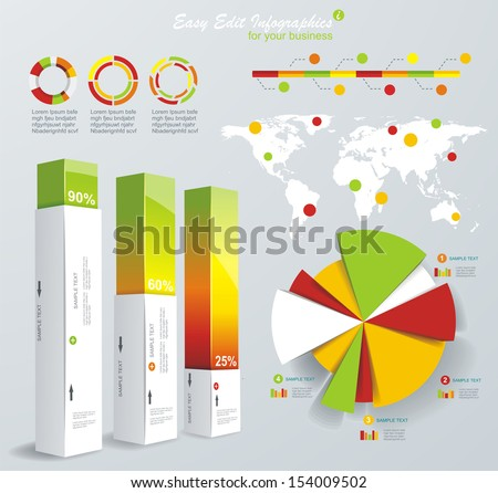 Modern infographics set. World Map and Information Graphics. Vector  - stock vector