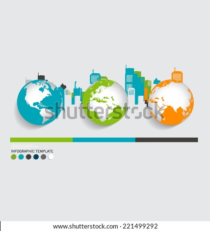 Modern infographics template style ,modern globe with building background. Vector illustration. - stock vector