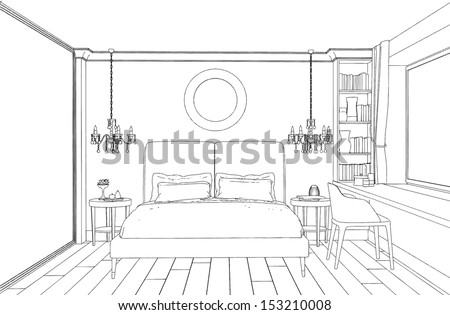 Modern interior bedroom hand drawing stock vector for 3d bedroom drawing