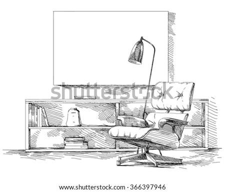 Modern interior hand drawing vector. - stock vector