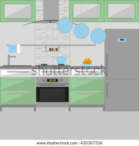Modern Interior. Kitchen. Room Design. Minimalism Style. Room with Furniture. Vector illustration - stock vector