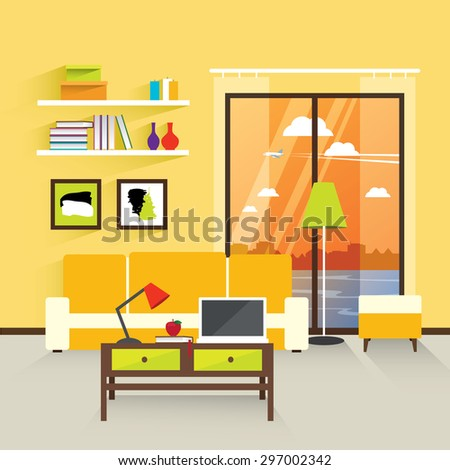 Modern interior living room in yellow. The modern interior. Modern living room. Working place at home. Interior flat design. Vector illustration - stock vector
