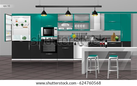 Modern Interior Of The Emerald Gray Kitchen With Floor Tiles. Vector  Illustration. Household Kitchen
