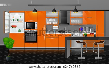 vector illustration on gray wall kitchen stock vector 405376144