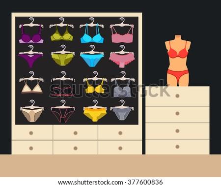 Modern interior of underwear shop. Vector illustration - stock vector