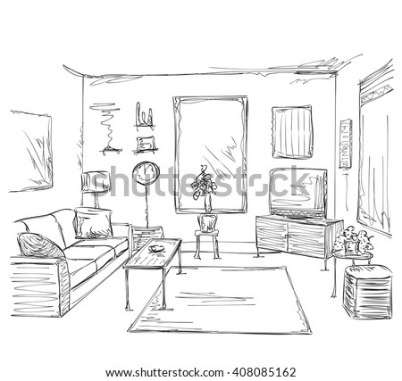 Modern interior room sketch. Hand drawn furniture. - stock vector