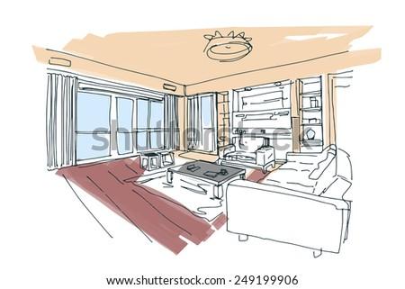 modern interior vector hand drawn sketch - stock vector