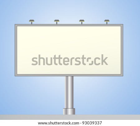 modern iron bill board on blue background with space for text - stock vector