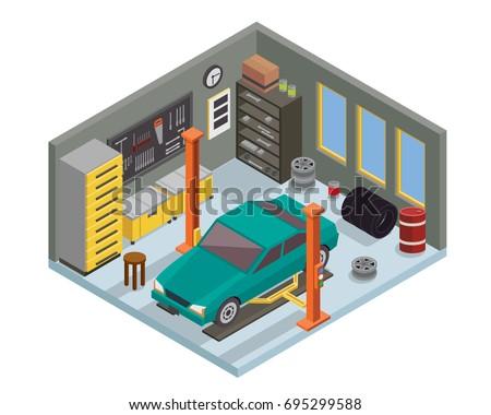 Modern Isometric Car Workshop Garage Interior Stock Vector ...