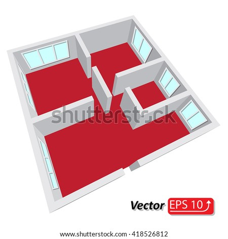 Modern isometric cottage interior. Isometric open plan house, apartment architectural project Ground Floor Plan Floorplan House Home Building Architecture Blueprint Layout Detailed plan. EPS10 vector - stock vector