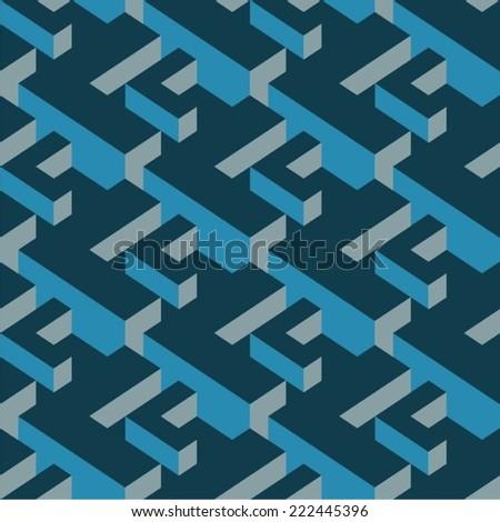 Modern Isometric Vector Seamless Pattern - stock vector