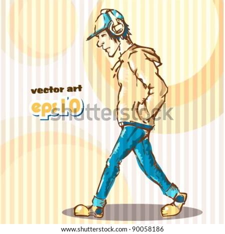 modern kid - stock vector