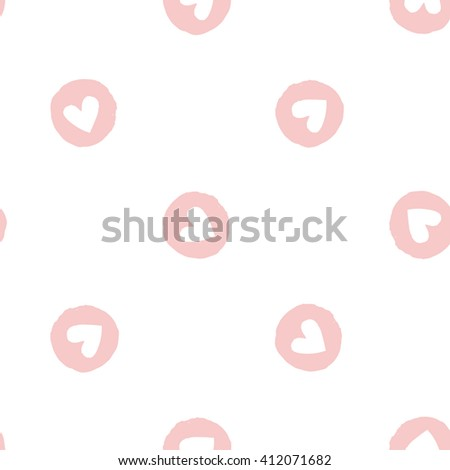 Modern kids soft colored seamless pattern with circle heart. Hand drawn graphic with tender cute minimalistic scandinavian cartoon elements isolated on white background - stock vector