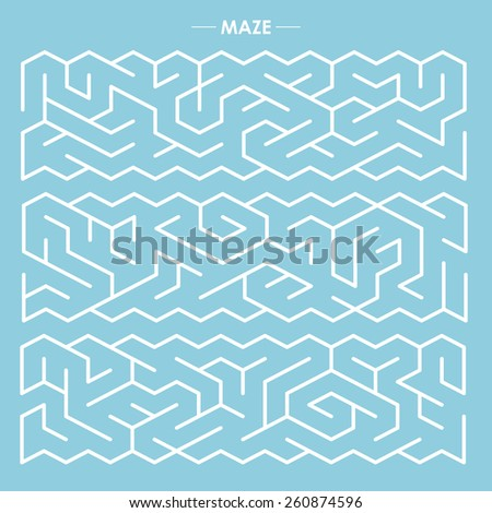 modern labyrinth set isolated on blue background - stock vector