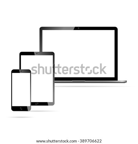 Modern laptop, phone, tablet on a white background - stock vector
