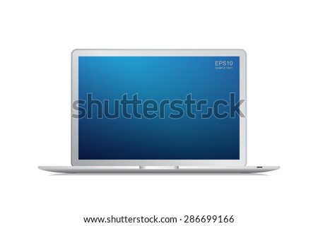 Modern laptop with blue screen area isolated on white background - Vector illustration - stock vector