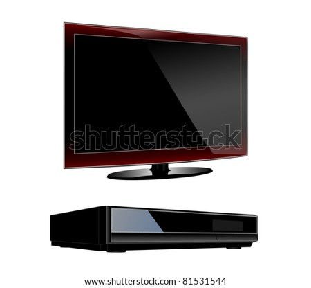 Modern LCD TV with DVD player set eps10