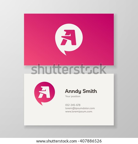 "Modern letter ""A"" in speech bubble Business card template. Vector design. Layered, editable. - stock vector"