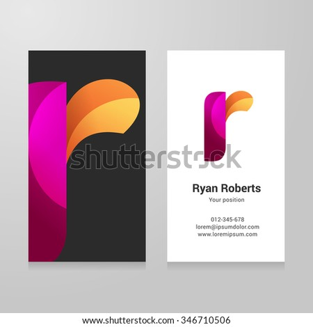 Modern letter r twisted colorful Business card template. Vector design. Layered, editable. - stock vector