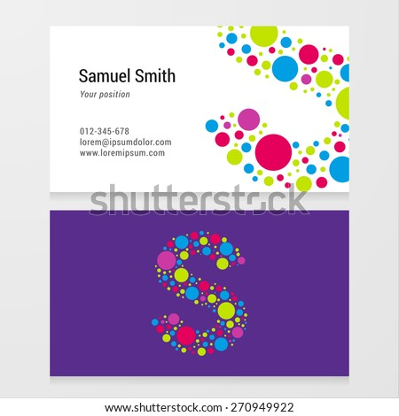 Modern letter S circle colorful Business card template. Vector design. Layered, editable. - stock vector