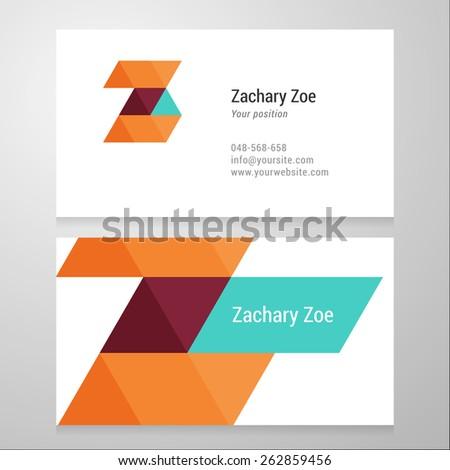 Modern letter Z Business card template. Vector design. Layered, editable. - stock vector