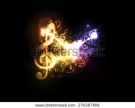 modern light conceptual music notes design, easy editable - stock vector