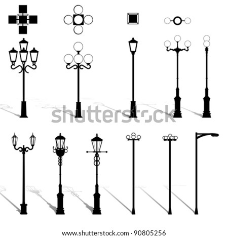 Modern Lightning Outdoor Lamp Pole Set. Architecture Outdoor Electric  Design Equipment Elements. Street Light