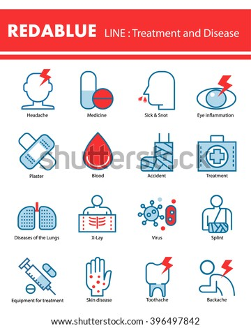 Modern line icons of Medical , Disease , symptom . Apply to website , book cover , poster ,  infographics . - stock vector