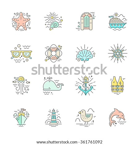 Modern line style icons with different summer adventure elements - cruise ship, anchor, dolphin, starfish and others. Nautical design elements. Cruise vacation or ocean adventure concept. - stock vector