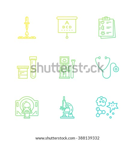 Modern line symbols of medicine - MRI, scanning machine, xray, blood test. Medical icons made in vector. Check-up and medical diagnostic. - stock vector