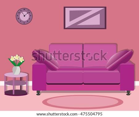 Modern Living Room Design Bright Sofa Stock Vector 475504795 ...