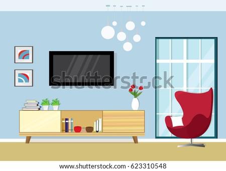 Modern Living Room Interior Tv Screen Stock Vector