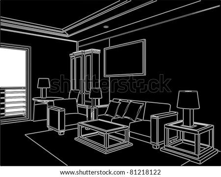 Modern Living Room Vector 06 - stock vector