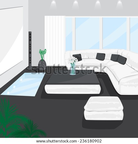 Modern Living Room   Vector Illustration, Graphic Design Editable For Your  Design