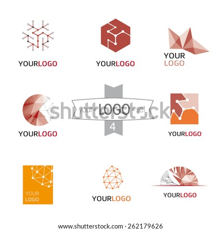 Modern logo design set: logotypes for different companies, as web agency, start-up, software house, engineering, R&D, chemical, pharmaceutical industry, new business, consulting and optimization - stock vector