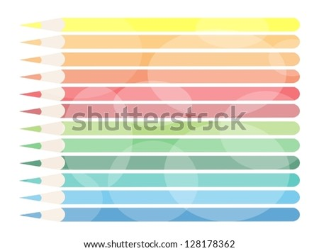 Modern Lovely Background of Twelve Colored Pencils for Text Decorated - stock vector