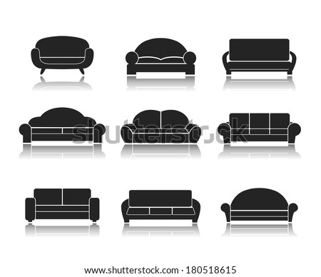 Modern Furniture Icon modern luxury sofas couches furniture icons stock vector 180518615