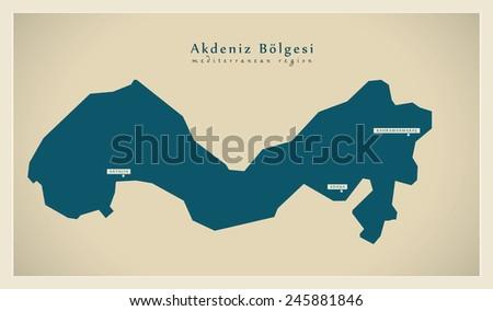 Modern Map - Akdeniz TR - stock vector