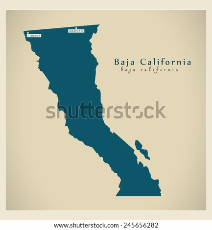 Modern Map - Baja California MX - stock vector