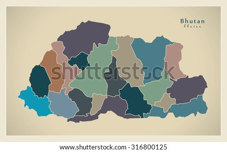 Modern Map Bhutan Districts Colored Bt Stock Vector - Map of bhutan with districts