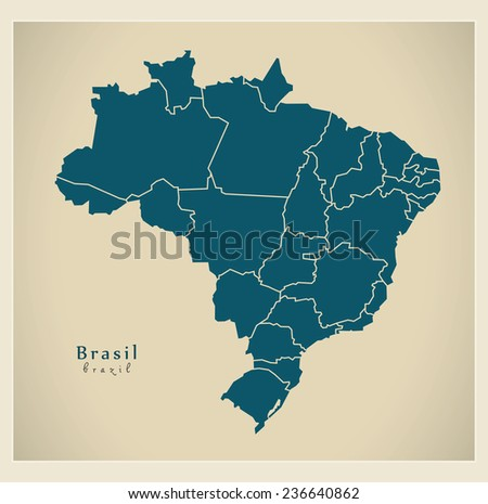 Modern Map - Brasil with districts BR - stock vector